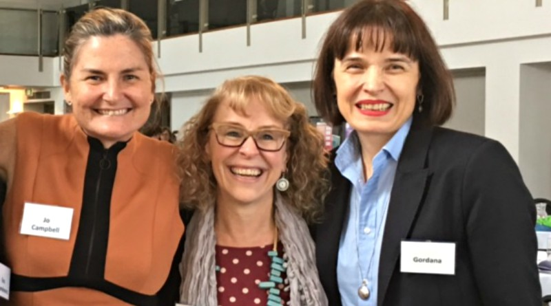 NSW Health Education Centre Against Violence employees Jo Campbell, and Kathy Horne and HCIS WSLHD manager Gordana Vasic at the domestic violence forum.