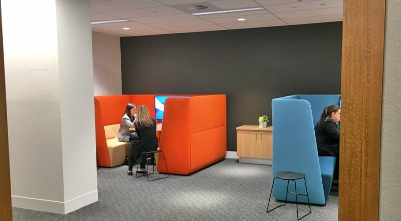 Small meeting pods at Blacktown Hospital.