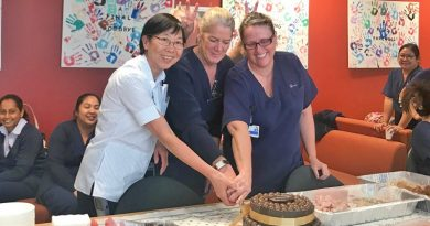 Nursing unit manager E3b Giok Anderson, nursing unti manager E3a Tracey Lee Osling NUM and acting nursing unit manager Ec3 Helen Hottes cut a cake to celebrate the successful swap of E3c and C3c wards at Westmead.